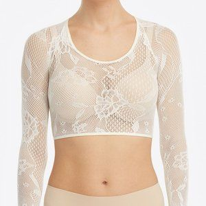 SPANX Fishnet Floral Arm Tights Crop Top White NWT